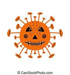 Halloween orange coronavirus bacteria with scary face. Isolated on white background. Vector stock illustration.