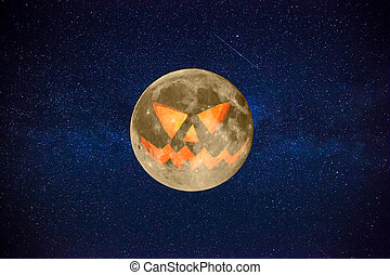 Halloween Orange Full Moon with a terrible mystical face with stars in the background