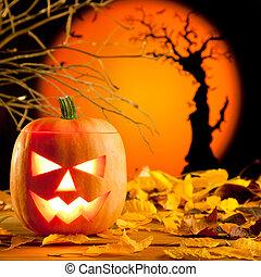Halloween orange pumpkin on autumn leaves