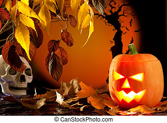 Halloween orange pumpkin on autumn leaves - Halloween orange...