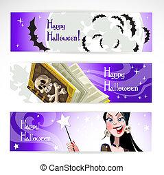halloween, orizzontale, bandiera, felice