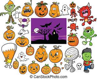 halloween, otoño, vector, diseño, conjunto