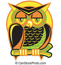 Halloween owl sitting on a branch in front of a yellow harvest moon clip art