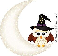 Halloween owl on the moon