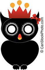 Halloween owl with red crown