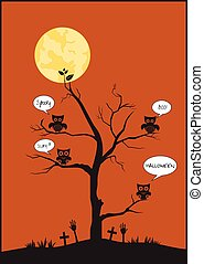Halloween owls and tree on moon background,Vector...