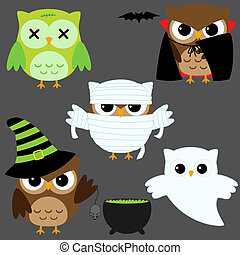 Halloween owls - Set of cute vector owls in Halloween...