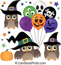 Halloween owls thematic collection 1 - eps10 vector...