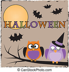Halloween owls with bats and moon