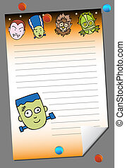 halloween pad image with scary monster faces and push pin...