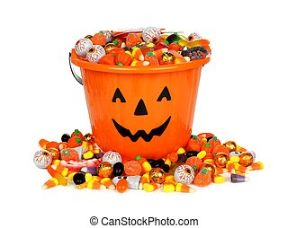 Halloween pail filled with candy - Halloween Jack o Lantern...