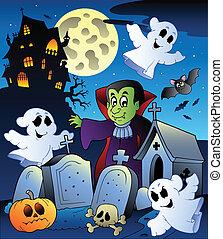 halloween, paisaje, con, cementerio, 4