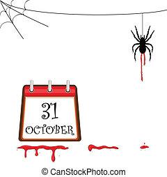 halloween, pająk, pełzający