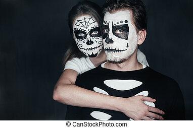 halloween, para, miłość