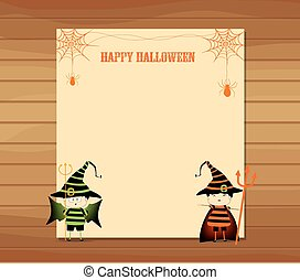 halloween parchment banner or card