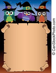Halloween parchment with owls theme 1
