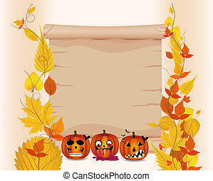 halloween parchment with pumpkin