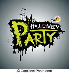 halloween, partij., boodschap, ontwerp
