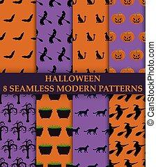 Halloween party. 8 seamless modern patterns