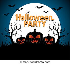 Halloween Party background blue