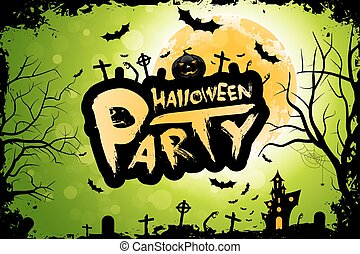 Halloween Party Background. Holiday Card with Moon and ...