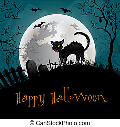 Halloween Party Background. Illustration with cat .