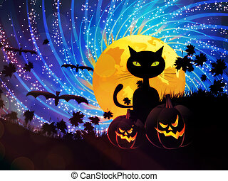 Halloween party background with pumpkins, black cat and moon on starry sky.