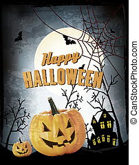 Halloween Party Background with Pumpkins. Vector.