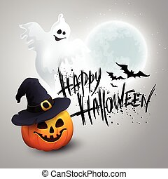 Halloween Party Background with Pumpkin and Moon in the Back. Vector illustration