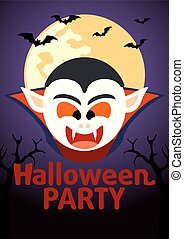 Halloween Party banner with Dracula