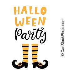 Halloween Party Banner with Handwritten Lettering