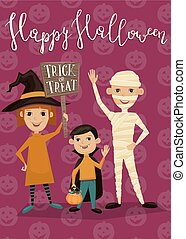 Halloween party banner with kids in costumes