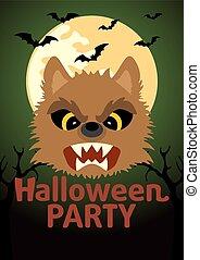 Halloween Party banner with Werewolf