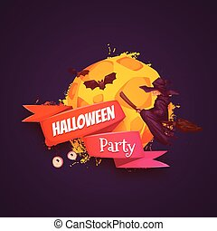 Halloween party banner with witch and moon