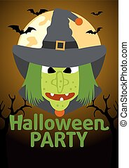 Halloween Party banner with Witch