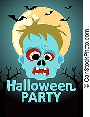 Halloween Party banner with Zombie