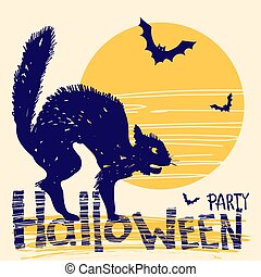 Halloween party card with black cat and night moon. Vector hand drawn illustration