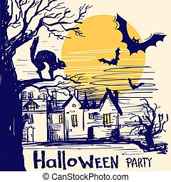 Halloween party card with castle and old tree. Vector hand drawn illustration