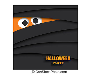 Halloween party card with eyes of mummy in dark background.