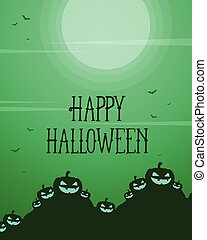 Halloween party card with green background