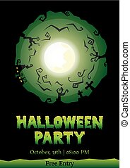 halloween party circle silhouette greeting