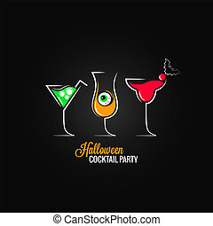 halloween party cocktails menu design background