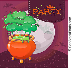 Halloween party concept background, cartoon style
