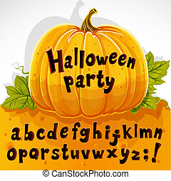 cut out pumpkin lowercase alphabet - Halloween party cut out...