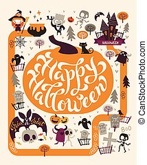 Halloween Party Design template, with the hand drawn lettering within a pumpkin. Fairy map location the graveyard, cute zombies, ghosts, skeletons and trees on the background.