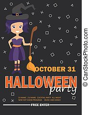 Halloween Party Design template with witch girl - poster for Invitation to party