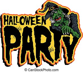 halloween party design with old witch used for signs or ...