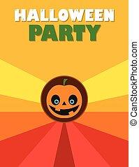 Halloween party flyer with pumpkin