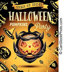 Halloween Party Flyer with Pumpkin on Armor.