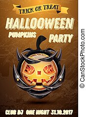 Halloween Party Flyer with Pumpkin with Fire Flames on Armor.